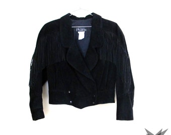Vintage 1980's Black Suede Fringed Cropped Jacket Size Medium