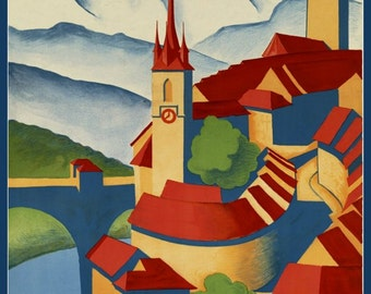 Switzerland Berne Travel Poster Print, 1930s