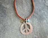 Large Peace Sign Necklace - Boho Peace Pendant - Hippie Peace Necklace - Multiple Charm Necklace - Brown Leather Pendant - Under 30