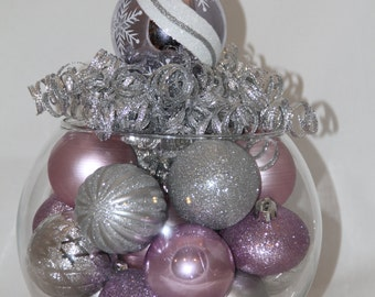 Christmas Centerpiece - Lavender and Silver Holiday Decoration - Christmas Home Decor - Purple Christmas Decoration - Hostess Gift
