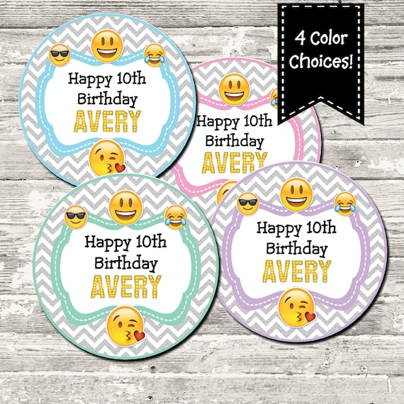 Emoji Happy Birthday Cupcake Round Printables