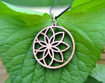 Lotus Flower Circle Pendant in cherry on leather cord, yoga jewelry, nature jewelry, wood jewelry, wood necklace, leather choker, flower