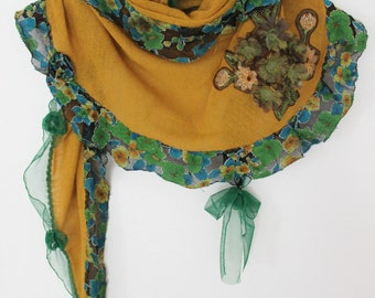 Saffron yellow shawl, yellow scarf, triangle shawl wool, angora shawl saffron, yellow gift wrap, handmade shawls, Women's Christmas gift