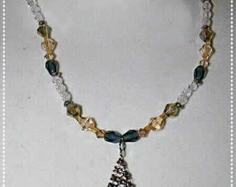 Blue and gold swarovski crystal beaded necklace