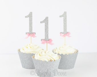Silver Glitter Number One Cupcake Topper Picks - Silver Glitter 1, First Birthday