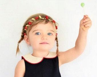 Red Headband, Grecian Headband, Flowers Headband, Greek Headband, Wedding Headpiece, Baby Headband, Gold Headband, Newborn Headband