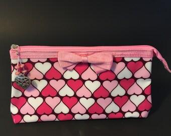 Heart Cosmetic Bag with Handmade Beaded Heart Zipper Pull
