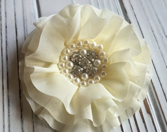 Cream / Ivory Chiffon Flower with Rhinestone and Faux Pearl Center Hair Clip