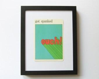 got spanked - Cheeky Wall Decor - Vintage MOMA Art Card - Naughty Card Pop Art - Typography Art - Museum of Modern Art - Vintage Flash Card