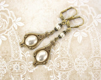Ivory Pearl Cabochon Earrings - Antique Brass Renaissance Victorian Vintage Style Wedding Bridal Jewelry with Swarovski Crystal Pearls