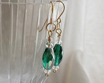 Sparkly Green Romantic Earrings, Boho Chic Dangle Earrings, Vintage Green Faceted Beads, Green Drop Earrings, Gold Plated Earrings for Her