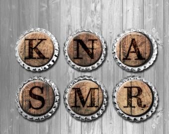 Rustic Wood Burned Monogram Bottle Cap Magnets - Set of 6