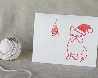 French Bulldog Letterpress Christmas Card set, Dog in Santa hat with Mistletoe