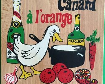 Retro NEVCO Decorative Cutting Board- Mid Century- Canard a l'orange- Duck a l'orange