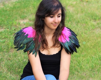 Shoulder Wings feathers: pink  and black