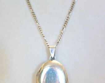 Sterling Silver Large Oval Locket, Vintage Silver Locket