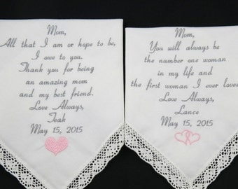 Hankerchiefs Gifts Personalized Wedding Embroidered Handkerchiefs set for Mother of the Bride and Mother of the Groom Napa Embroidery