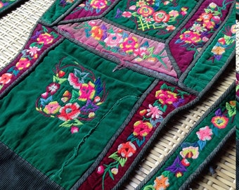 Vintage Hmong Rare Handmade embroidered Hilltribe Textile Baby carrier craft supplies