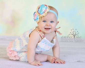 Aqua Blue Pink Headband, Handmade Flower Headband, Matilda Jane Headband