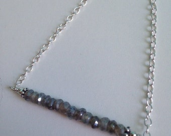 "Labradorite necklace ~ ""Labradorite Bar"" ~ Bar necklace ~ gray gemstone jewelry ~ Labradorite jewelry ~ gray necklace"