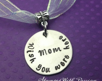 Bridal bouquet memorial charm - hand stamped and personalized - Wedding Bouquet, Bride charm, In memory of charm, Mom remberence
