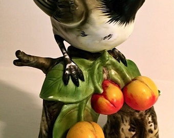 Vintage Porcelain Ceramic Bird Figurine Collectible Chickadee Figurine