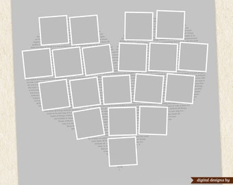 Heart shape photo collage template 24x24 11x11 photoshop for 4 picture collage template
