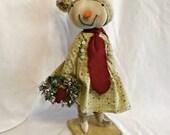 Primitive Standing Snow Girl, Snowman Art Doll, Folk Art Snowgirl