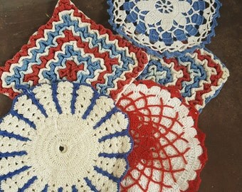 Hand Crochet Hot Pads Vintage Hand Crochet Red White Blue Collection of 4 Doilies