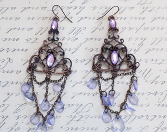 Victorian style purple chandelier earrings