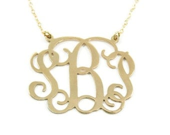 "Monogram Necklace. 1.5"" Personalized monogram necklace.18k  Gold plated . Gold monogram necklace. Gold initial necklace. Monogram jewelry."