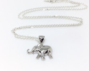 Elephant Necklace Sterling Silver Baby Elephant Pendant Small Animal Charm Elephant 925 Silver Elephant Jewelry Baby Animal