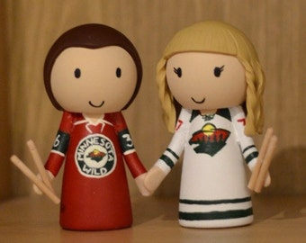 Wedding Cake Topper - Ice Hockey Jersey and Drum