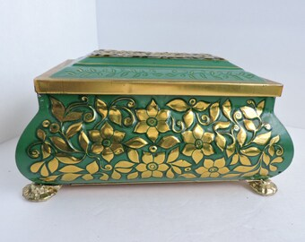 West Germany Gold & Green Tin Box   Vintage Floral Dresser Vanity Box   Footed Metal Storage Box   Antique Glove Box   GreenTreeBoutique