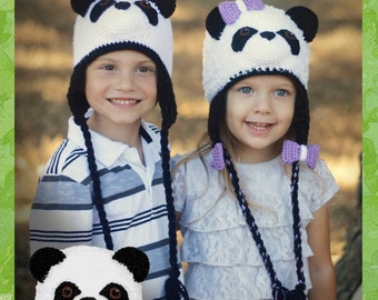 Crochet Panda Bear Hat Pattern (PDF FILE)-Furry or Non-Furry