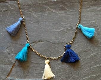 Long tassel necklace, Personalized layering necklace, Blue and Ivory fringe necklace, Boho jewelry, Bohemian necklace, 1136-iris