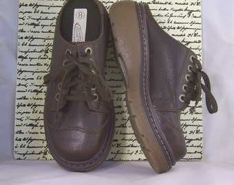 Vintage Womens Shoes Size 8 Lower East Side Oxfords Mules Faux Brown Leather Chunky Hippie Waffle Thick Sole Heavy Wt Platform Urban Grunge