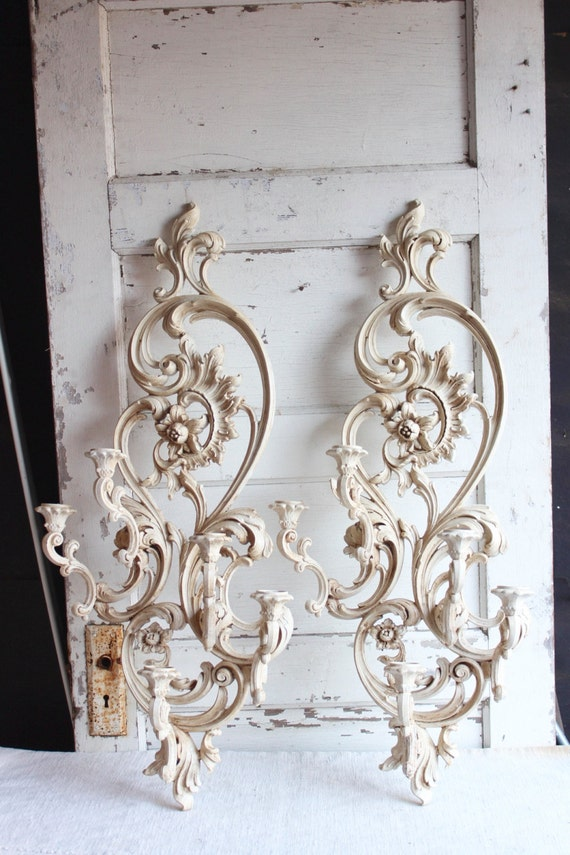 Vintage Syroco Large White Painted Candle Holder Wall Sconces