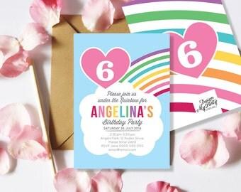 Rainbow Birthday Party Invitations (Personalised DIY Printables)