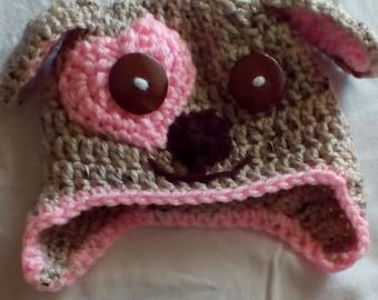 Baby Girl Puppy Hat, Crochet Hat, Cute Baby Girl Hat, Pink Puppy Hat
