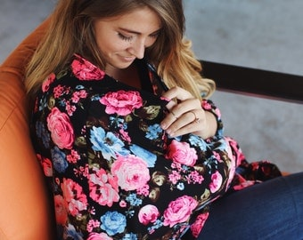 Hot Pink Roses Nursing Poncho Doubles as a Carseat Cover/ Full Coverage Nursing Cover
