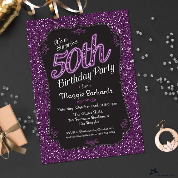 Neon Edge Glitter Look Birthday Party Invitation 4 Color Options