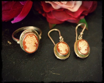 Vintage Cameo Ring and Earrings - Ring Size 7.5