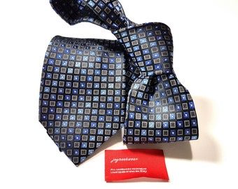 Silk Tie with Multi Shades of Horizon Cornflower Blue and Navy and Charcoal Grey and Black Squares