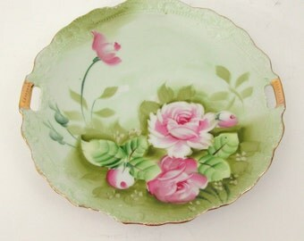 Vintage China Cake Plate in Heritage Green by Lefton with Handles