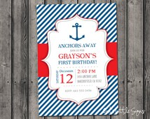 Anchor Birthday Invitation Digital Download