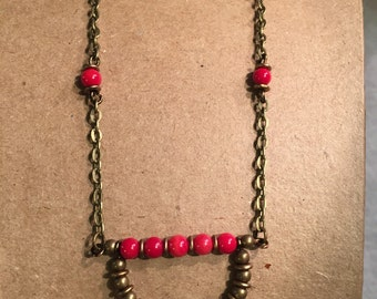 Turquoise and Red Bamboo Coral Necklace