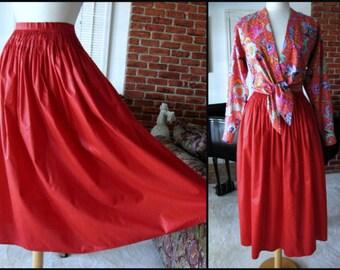 Geoffrey Beene Beenebag 70s Skirt / Small / Beenebag Red Skirt / 70s Red Smocked Skirt