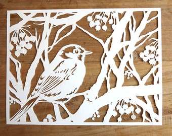 Papercut art - Original handcut paper cutting - Original handmade papercut of Bird in winter tree - Bird paper cut