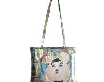 Metallic Shoulder Tote bag Julie / holographic bag / hologram / gift for her / berlin / deer / portrait / art / artistic / solid with zipper